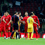 Turkey's players celebrate victory during their UEFA Euro 2016 qualification Group A soccer match Turkey betwen Kazakhstan at AliSamiYen Arena in Istanbul November 16, 2014. Photo by Kurtulus YILMAZ/TURKPIX