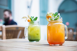 View of two mocktails in jar glass