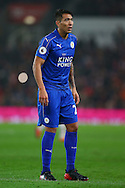 Leonardo Ulloa of Leicester City looks on. Premier league match, Stoke City v Leicester City at the Bet365 Stadium in Stoke on Trent, Staffs on Saturday 17th December 2016.<br /> pic by Chris Stading, Andrew Orchard sports photography.