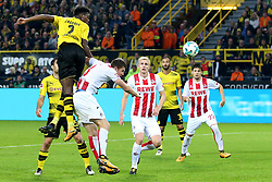 DORTMUND, Sept. 18, 2017  Dan-Axel Zagadou (R) of Borussia Dortmund and Dominique Heintz of 1.FC Cologne vie for the ball during the Bundesliga soccer match between Borussia Dortmund and 1.FC Cologne at the Signal Iduna Park in Dortmund, Germany on Sept. 17, 2017. Borussia Dortmund won 5-0. (Credit Image: © Joachim Bywaletz/Xinhua via ZUMA Wire)