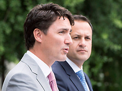 Prime Minister Justin Trudeau, left, speaks to the media as Irish Taoiseach Leo Varadkar looks on at Farmleigh House Tuesday, July 4, 2017 in Dublin, Ireland. Photo by Ryan Remiorz/CP/ABACAPRESS.COM