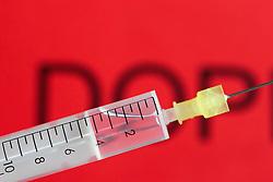 "SYMBOLBILD - Schriftzug Doping, Spritze, Dopingspritze, Einwegspritze mit Nadel, aufgenommen am 15.11.2015 // the lettering ""Doping"" written Syringe, doping syringe, disposable syringe with needle, captured on 2015/11/15. EXPA Pictures © 2015, PhotoCredit: EXPA/ Eibner-Pressefoto/ Fleig<br /> <br /> *****ATTENTION - OUT of GER*****"