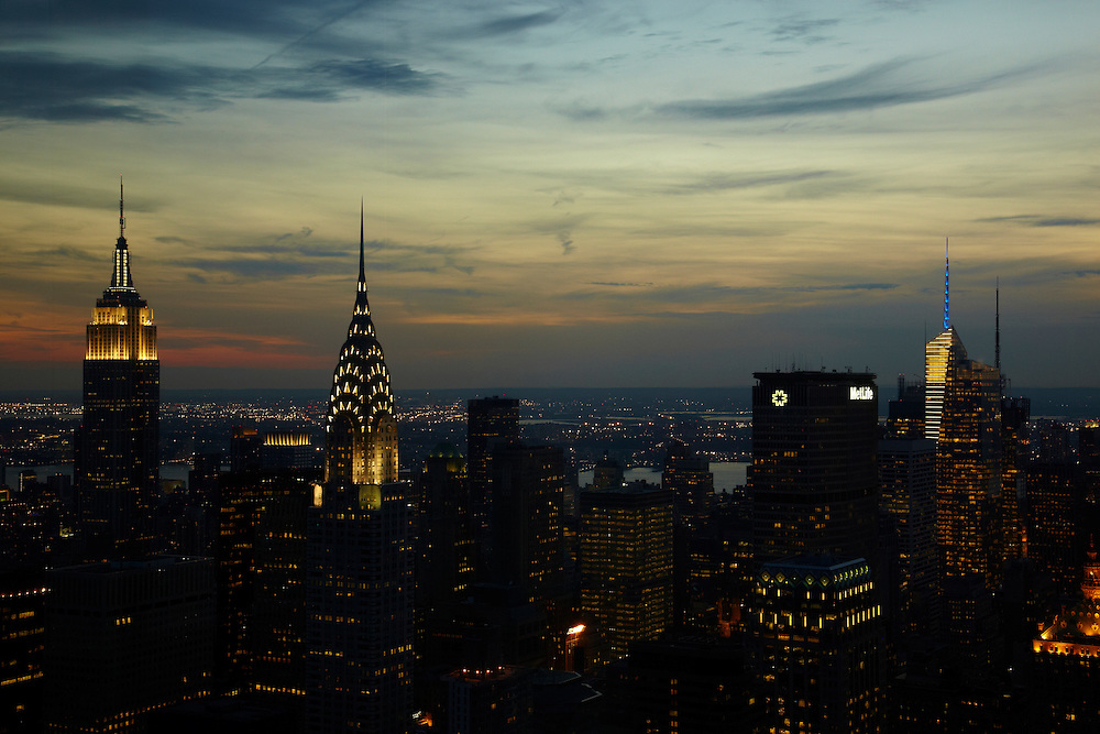 Night view of the Empire State Building and Chrysler Building from 845 UN Plaza, 90th floor