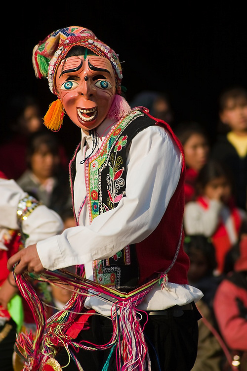 A masked dancer performs in a dance competition held in Llamay, Sacred Valley, Peru, during the festival held in honor of Santa Rosa de Lima, South America's first catholic saint.