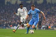 James Milner of Manchester City escapes Ahmed Musa of CSKA - Manchester City vs. CSKA Moscow - UEFA Champions League - Etihad Stadium - Manchester - 05/11/2014 Pic Philip Oldham/Sportimage