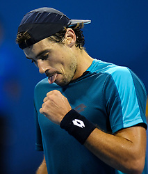 Guido Pella of Argentina react during their semi final  of ATP Qatar Open Tennis match against Andrey Rublev of Russia  at the Khalifa International Tennis Complex in Doha, capital of Qatar, on January 05, 2018. Andrey Rublev won 2-1  (Credit Image: © Nikku/Xinhua via ZUMA Wire)