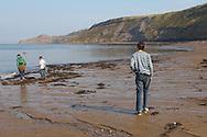 Runswick Bay - North Yorkshire - England - kids walking