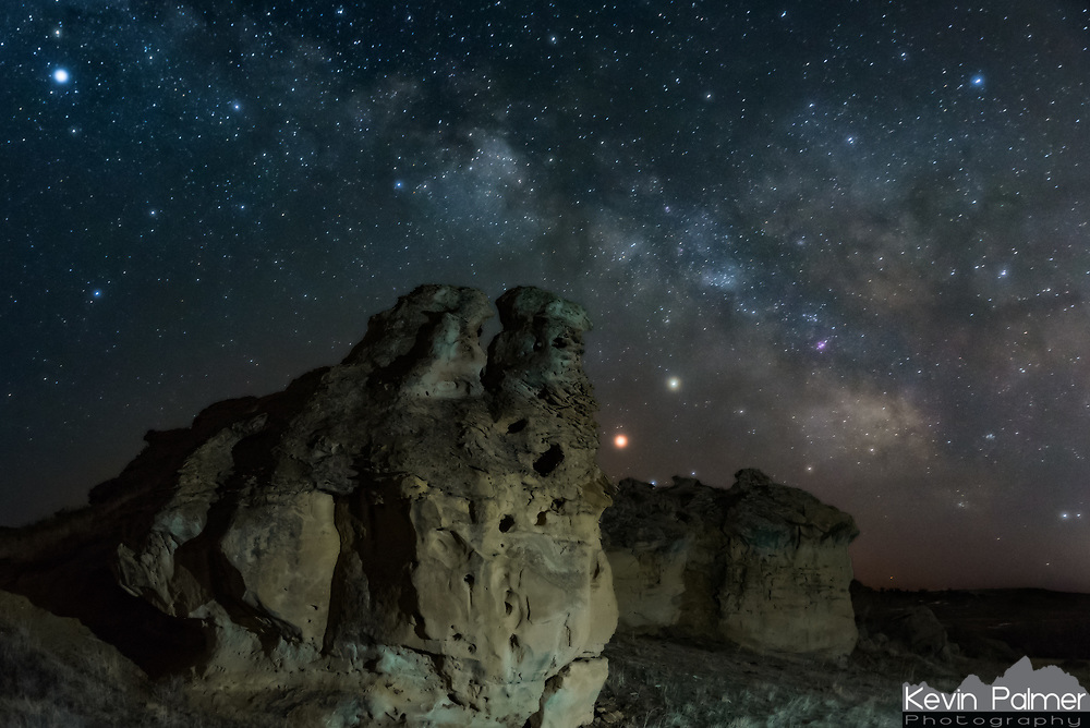 I found this area while wondering the backroads north of Sheridan at night. The aurora I had tried to capture was a bust, but when I left the milky way was perfectly placed above these bluffs. Mars and Saturn were close together after their conjunction last week. I lit up the formation with my headlamp from the side to add depth.