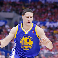21 April 2014: Golden State Warriors guard Klay Thompson (11) dribbles during the Los Angeles Clippers 138-98 victory over the Golden State Warriors, during Game Two of the Western Conference Quarterfinals of the NBA Playoffs, at the Staples Center, Los Angeles, California, USA.