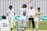 Harvey Hosein pulls a short ball for 4 during the Specsavers County Champ Div 2 match between Leicestershire County Cricket Club and Derbyshire County Cricket Club at the Fischer County Ground, Grace Road, Leicester, United Kingdom on 27 May 2019.