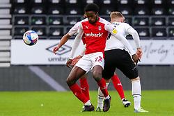 Matthew Olosunde of Rotherham United gets past Kamil Jozwiak of Derby County - Mandatory by-line: Ryan Crockett/JMP - 16/01/2021 - FOOTBALL - Pride Park Stadium - Derby, England - Derby County v Rotherham United - Sky Bet Championship