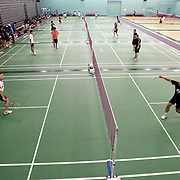 ORANGE, CA, January 3, 2008: Top badminton players, including Howard Bach, left, train at the Orange County Badminton Club in Orange, California.
