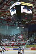 Videowuerfel mit Werbung im Playout Spiel der National League A zwischen den Rapperswil-Jona Lakers und dem EHC Biel, am Donnerstag, 27. Maerz 2014, in der Diners Club Arena Rapperswil-Jona. (Thomas Oswald)