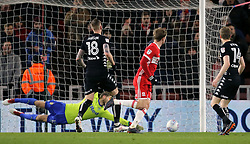 Middlesbrough's Patrick Bamford (centre) scores the games first goal of the game against Leeds United during the Sky Bet Championship match at the Riverside Stadium, Middlesbrough.