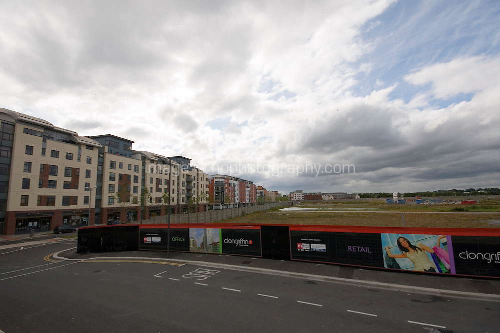 Empty streets and hording advertising retail units at the recent development Clongriffin Town Centre Dublin Ireland