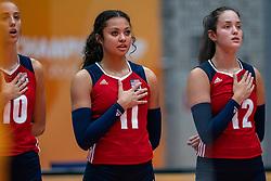 Reagan Hope of USA, Jordan Middleton of USA, Caroline Crawford of USA during United States - Netherlands, FIVB U20 Women's World Championship on July 15, 2021 in Rotterdam
