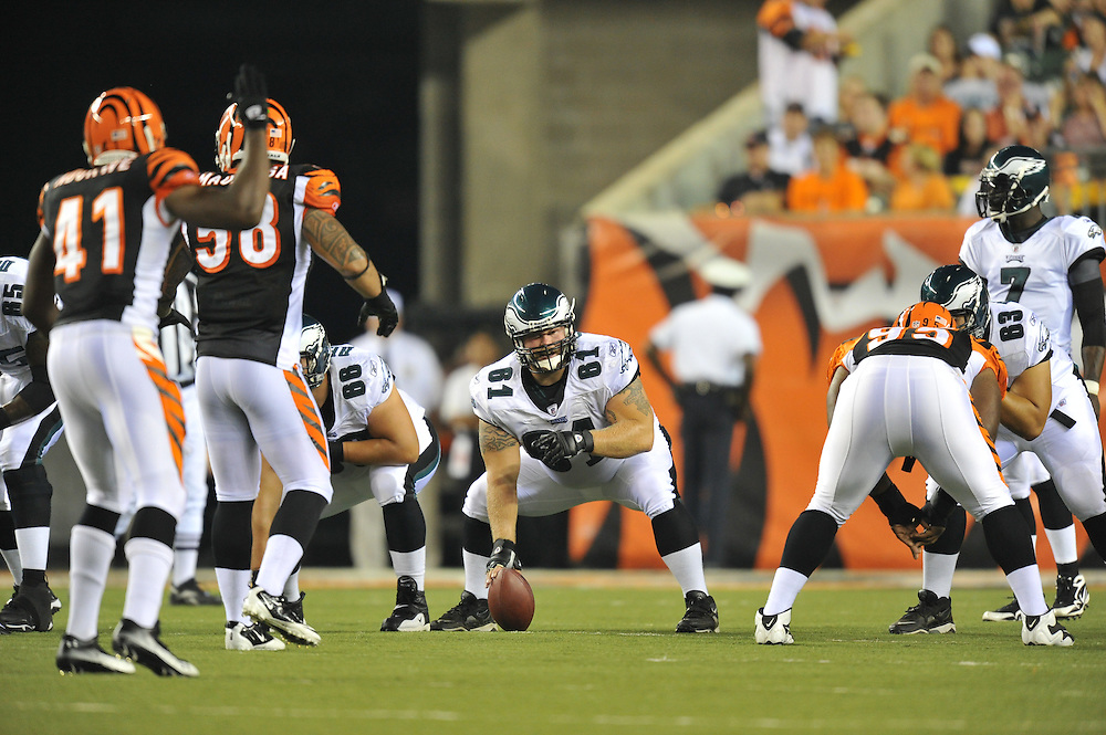 PITTSBURGH - AUGUST 20: Center A.Q. Shipley #61 of the Philadelphia Eagles lines up during the game against the Cincinnati Bengals on August 20, 2010 at Paul Brown Stadium in Cincinnati, Ohio. (Photo by Drew Hallowell/Getty Images)  *** Local Caption *** A.Q. Shipley