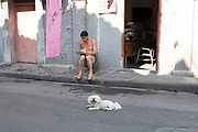 Man reading his newspaper outside with his dog in Shanghai, China.