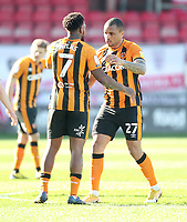 Hull City's Josh Magennis celebrates scoring his side's first goal  with Hull City's Mallik Wilks<br /> <br /> Photographer Mick Walker/CameraSport<br /> <br /> The EFL League 1 - Crewe Alexandra v Hull City  - Friday 2nd April  2021 - Alexandra Stadium-Crewe<br /> <br /> World Copyright © 2020 CameraSport. All rights reserved. 43 Linden Ave. Countesthorpe. Leicester. England. LE8 5PG - Tel: +44 (0) 116 277 4147 - admin@camerasport.com - www.camerasport.com