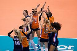 15-05-2016 JAP: OKT Nederland - Zuid Korea, Tokio<br /> Er is nog niets verloren, maar de volleybalsters van Oranje hebben tijdens het OKT een gevoelige 3-0 nederlaag geleden tegen Zuid-Korea / Celeste Plak #4, Debby Stam-Pilon #16, Myrthe Schoot #9, Lonneke Sloetjes #10