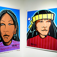 """""""Smile"""" and """"Face"""" by Douglas Miles currently on display at the Ingham Chapman Gallery inside Gurley Hall at the University of New Mexico Gallup."""