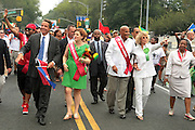 September 3, 2012- Brooklyn, New York:  (L-R) New York State Governor Andrew Cuomo, Soca Recording Artist Machel Montano, New York City Council Speaker Christine Quinn, and Actor/Civil Rights Activist Harry Belafonte attend the 45th Annual West Indian Day Labor Day Celebration held on September 3, 2012 along Brooklyn's famed Eastern Parkway. It's one of New York City's most popular parades, a cultural festival that celebrates West Indian history, culture, music and food. Attended by as many as two million people.  (Photo by Terrence Jennings)