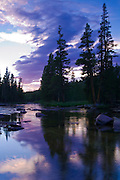 Evening light over the Tuolumne River, Tuolumne Meadows area, Yosemite National Park, California