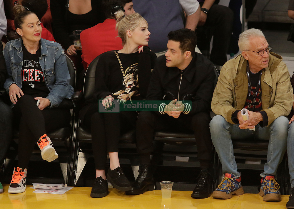 Kendall Jenner along with Rami Malek and his girlfriend Lucy Boynton are spotted at the Los Angeles Lakers Vs The Philadelphia 76'ers Game at the Staples Center in Los Angeles, Ca<br /><br />30 January 2019.<br /><br />Please byline: Quarterflash/Vantagenews.com
