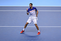 November 14, 2017 - London, England, United Kingdom - Marin Cilic of Croatia in celebrates a point in his Singles match against Jack Sock of the USA on day three of the Nitto ATP World Tour Finals at O2 Arena, London on November 14, 2017. (Credit Image: © Alberto Pezzali/NurPhoto via ZUMA Press)
