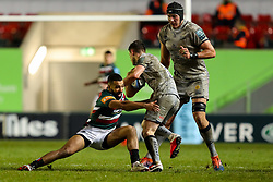 Zack Henry of Leicester Tigers tackles Luke James of Sale Sharks  - Mandatory by-line: Nick Browning/JMP - 29/01/2021 - RUGBY - Mattioli Woods Welford Road - Leicester, England - Leicester Tigers v Sale Sharks - Gallagher Premiership Rugby