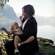 author Karl Ove Knausgaard, with daughter Heidi