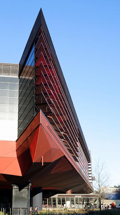 Low angle view of a sharp corner, Quai Branly Museum, 2007, by architect Jean Nouvel, Paris, France. Picture by Manuel Cohen.