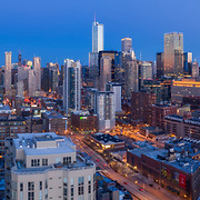 Aerial drone camera view of Chicago's skyline from near the Chicago River above Montgomery Park.
