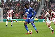 Daniel Amartey of Leicester City in action. Premier league match, Stoke City v Leicester City at the Bet365 Stadium in Stoke on Trent, Staffs on Saturday 17th December 2016.<br /> pic by Chris Stading, Andrew Orchard sports photography.