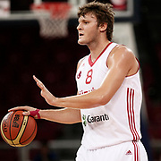 Turkey's Baris Hersek during their Adidas Istanbul Cup 2012 Final basketball match Turkey between Finland at the Abdi ipekci Arena in Istanbul Turkey on Thursday 02 August 2012. Photo by TURKPIX