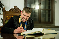 Urban Lesjak signing the City of Ljubljana's Golden Book during reception of Slovenian National Handball Men team after they placed third at IHF World Handball Championship France 2017, on January 30, 2017 in City hall, Ljubljana centre, Slovenia. Photo by Vid Ponikvar / Sportida