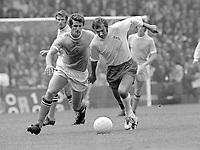 Terry Cooper (Leeds United)  Mike Doyle (Man City) Manchester City v Leeds United. 14/8/71. Credit : Colorsport.
