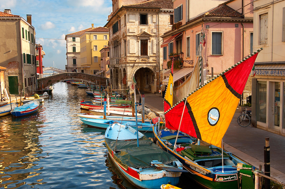 Traditional Sail Fishing Boats on Riva Vena canal - Chioggia - Venice - Italy .<br /> <br /> Visit our ITALY HISTORIC PLACES PHOTO COLLECTION for more   photos of Italy to download or buy as prints https://funkystock.photoshelter.com/gallery-collection/2b-Pictures-Images-of-Italy-Photos-of-Italian-Historic-Landmark-Sites/C0000qxA2zGFjd_k