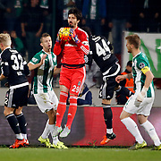 Besiktas's goalkeeper Tolga Zengin (C) during their Turkish Super League soccer match Bursaspor between Besiktas at the Ataturk Stadium in Bursa Turkey on Sunday, 08 November 2015. Photo by Aykut AKICI/TURKPIX