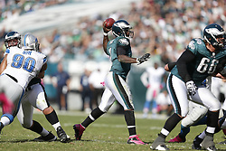 Philadelphia Eagles quarterback Michael Vick (7) throws the ball during the NFL game between the Detroit Lions and the Philadelphia Eagles on Sunday, October 14th 2012 in Philadelphia. The Lions won 26-23 in Overtime. (Photo by Brian Garfinkel)
