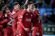 Lloyd Jones (Swindon Town) roars in celebration as Swindon take the lead in the final moments of the game. 2-1 during the EFL Sky Bet League 1 match between Bolton Wanderers and Swindon Town at the Macron Stadium, Bolton, England on 14 January 2017. Photo by Mark P Doherty.