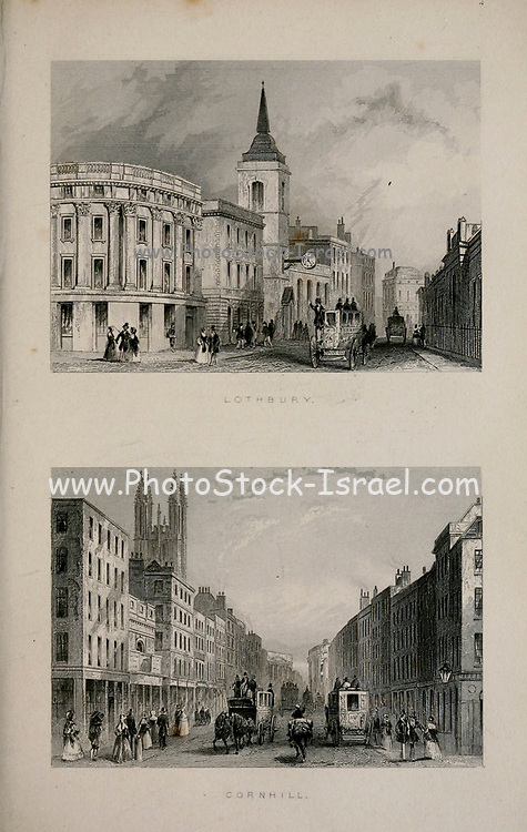 London Lothbury Street and Cornhill From the book Illustrated London, or a series of views in the British metropolis and its vicinity, engraved by Albert Henry Payne, from original drawings. The historical, topographical and miscellanious notices by Bicknell, W. I; Payne, A. H. (Albert Henry), 1812-1902 Published in London in 1846 by E.T. Brain & Co