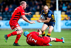 Chris Pennell of Worcester Warriors takes on Joe Gray of Saracens and Schalk Burger of Saracens - Mandatory by-line: Robbie Stephenson/JMP - 18/05/2019 - RUGBY - Sixways Stadium - Worcester, England - Worcester Warriors v Saracens - Gallagher Premiership Rugby