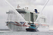 """Britain's largest and most environmentally-friendly cruise ship, P&O Cruises Iona, arrives into her home port of Southampton this morning ahead of tonight's official naming ceremony.<br /> <br /> Iona is powered by liquefied natural gas, ground-breaking for the UK cruise industry and one of the cleanest fuels in the world.<br /> <br /> The ship will be named this evening in a glittering quayside ceremony hosted by Jo Whiley and broadcast to a """"virtual"""" audience, the highlight of which will be a performance by Iona's music director Gary Barlow.<br /> <br /> Dame Irene Hays, chair of Hays Travel, Britain's largest independent travel agency, will name the ship and a specially produced Nebuchadnezzar (equivalent to 20x 750ml bottles) of Alex James's Britpop cider will smash against the hull of the ship to bring it good fortune in the future.  <br /> <br /> Iona will have 30 bars and restaurants with many new speciality dining options including tapas from award-winning Spanish chef José Pizarro paired with wines selected by Olly Smith. Entertainment venues include the first """"SkyDome"""" - an extraordinary glass structure which will be a relaxed poolside environment by day and then transform at night into a spectacular venue with DJs, stage and aerial acrobatic shows.<br /> <br /> There will also be the first gin still on a cruise ship, created in association with Salcombe Gin, distilling tailor made spirit on board. The gin's maiden production will take place in Iona's custom-made still named """"Columba"""" and will be distilled, bottled and labelled on board. <br /> <br /> Picture date Sunday 16th May, 2021.<br /> Picture by James Robinson. Contact +447544 044177 chris@christopherison.com<br /> <br /> For further press information please contact: <br /> Michele Andjel, michele.andjel@carnivalukgroup.com 023 8065 6653 / 07730 732 072<br /> Laura Tattam, laura.tattam@pocruises.com 02380 656651 / 07771 283 845<br /> Jenny Hadley, jenny.hadley@pocruises.com  023 8065 6650 / 07825 1"""