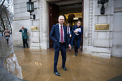 © Licensed to London News Pictures. 15/01/2018. London, UK. Minister for the Cabinet Office David Lidington (centre) leaves Four Millbank after giving media interviews over the collapse of construction firm Carillion. Lidington has said the Government will pay Carillion workers on public sector contracts. Photo credit: Rob Pinney/LNP