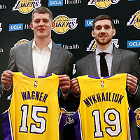 EL SEGUNDO, CA - JUN 26: NBA 2018 draft pick Moritz Wagner #15 of the Los Angeles Lakers and NBA draft pick Sviatoslav Mykhailiuk #19 of the Los Angeles Lakers pose  during an introductory press conference at the UCLA Health Training Center on June 26, 2018 in El Segundo, California.