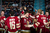REGINA, SK - MAY 27:  The Acadie-Bathurst Titan celebrate the win against the Regina Pats at Brandt Centre - Evraz Place on May 27, 2018 in Regina, Canada. (Photo by Marissa Baecker/Getty Images)