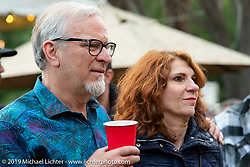 30-year Ness fabricator and mechanic Jeff Border with his partner Karen at the home of Kim and Jon Borneman after the Arlen Ness Memorial - Celebration of Life. Pleasanton, CA, USA. Saturday, April 27, 2019. Photography ©2019 Michael Lichter.