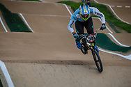 #595 (MOLINA Gonzalo) ARG at Round 2 of the 2020 UCI BMX Supercross World Cup in Shepparton, Australia.