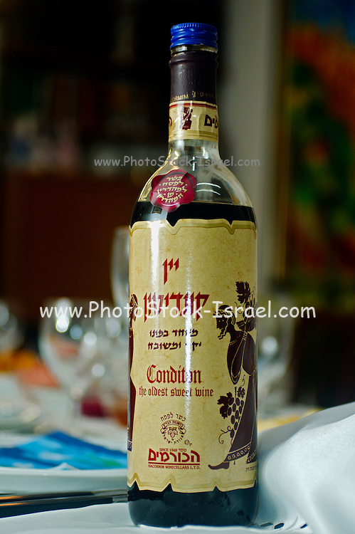 a bottle of sweet Conditon wine used by Jews for the blessing of the wine ceremony AKA kiddish, on Friday night and other holidays